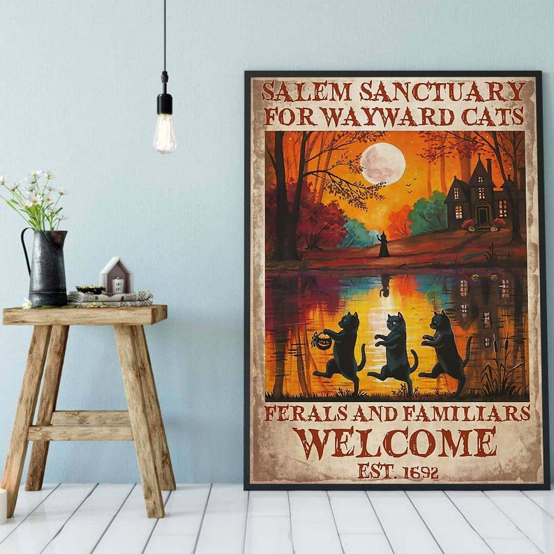Black cat salem sanctury for wayward cats feral and familiar halloween poster 3