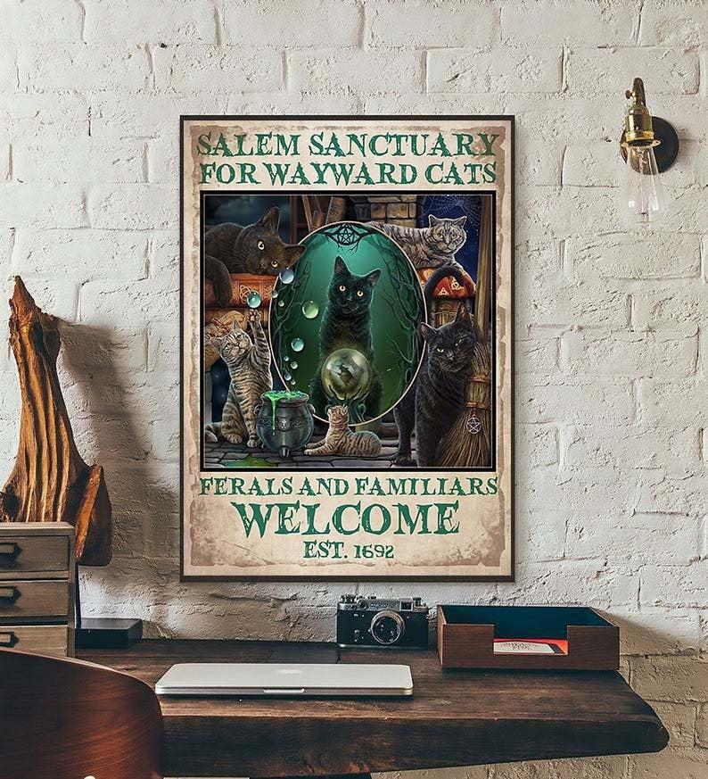 Black cat salem sanctury for wayward cats feral and familiar vintage poster 1