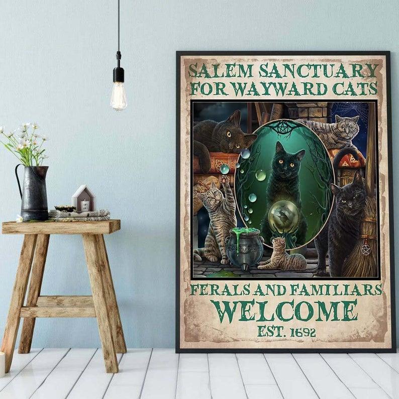 Black cat salem sanctury for wayward cats feral and familiar vintage poster 2
