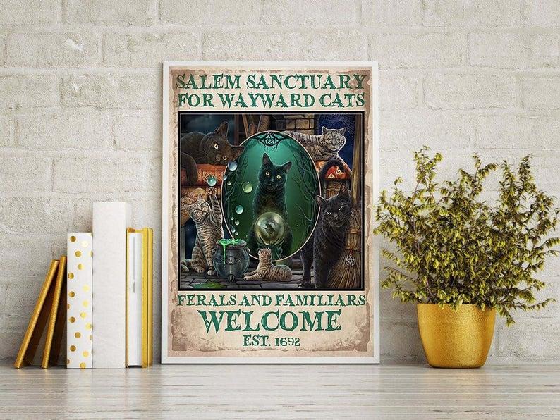 Black cat salem sanctury for wayward cats feral and familiar vintage poster 4
