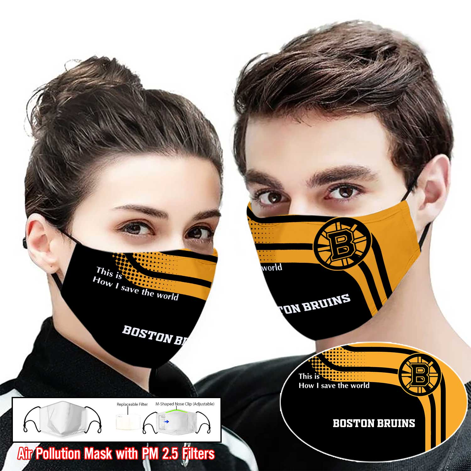 Boston bruins this is how i save the world full printing face mask 1