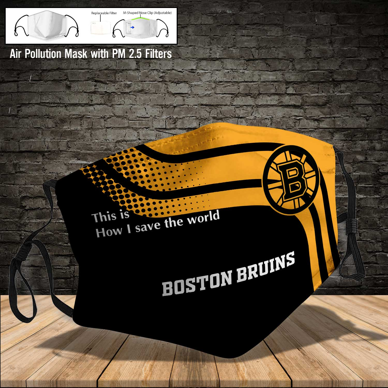 Boston bruins this is how i save the world full printing face mask 4