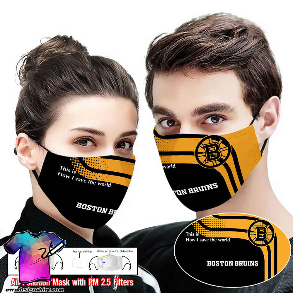 Boston bruins this is how i save the world full printing face mask