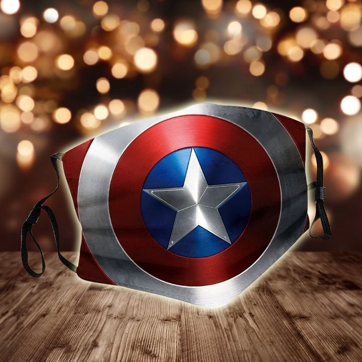 Captain america shield all over printed face mask 1