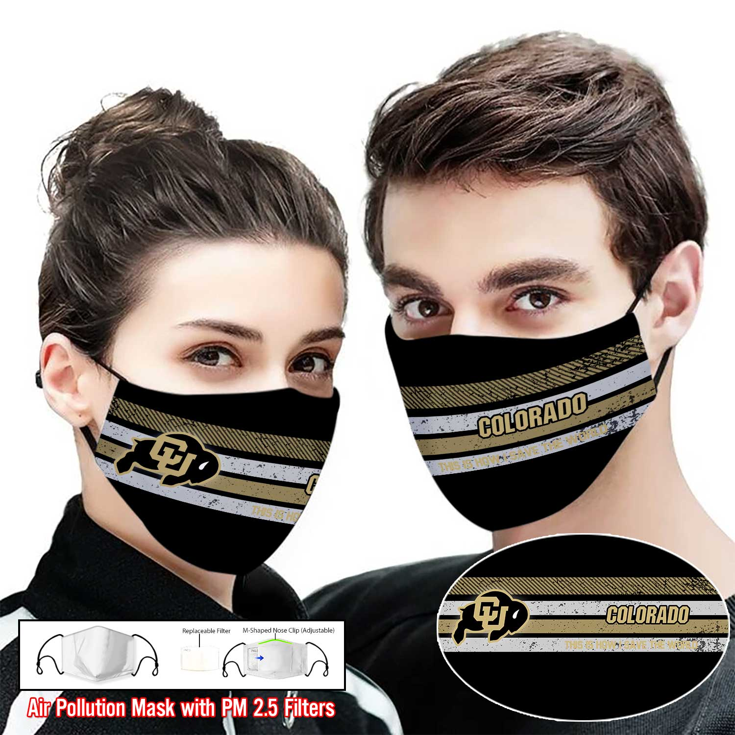 Colorado buffaloes this is how i save the world face mask 1