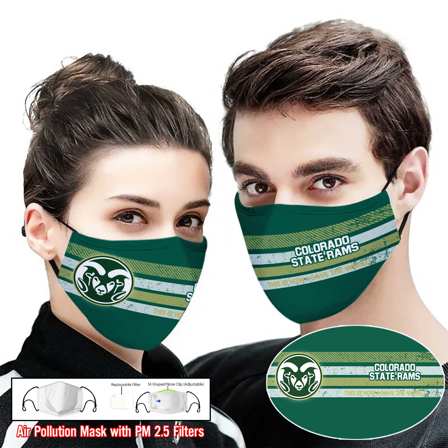 Colorado state rams this is how i save the world face mask 2