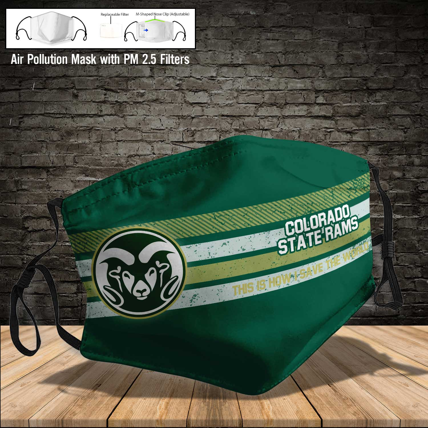 Colorado state rams this is how i save the world face mask 4