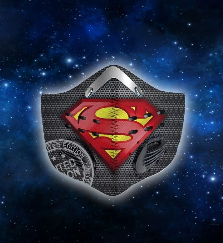 DC comics superman metallic filter activated carbon face mask 1