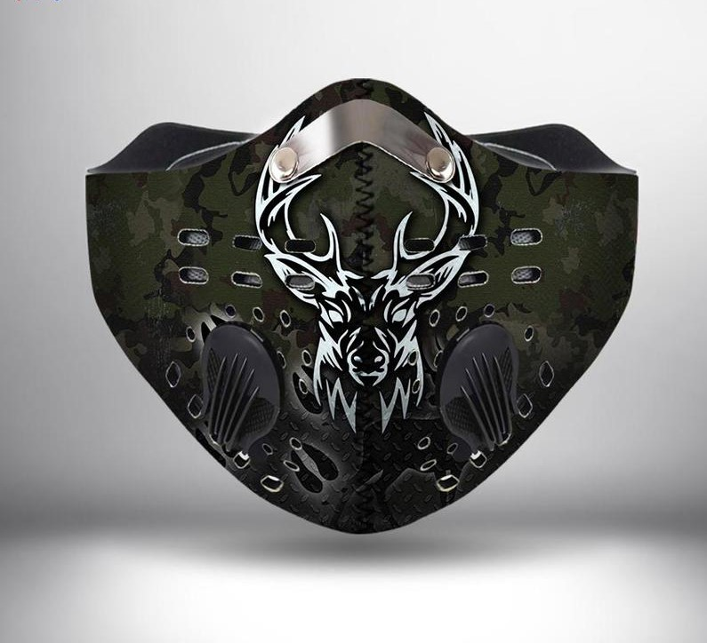 Deer hunting camo anti pollution filter activated carbon face mask 3