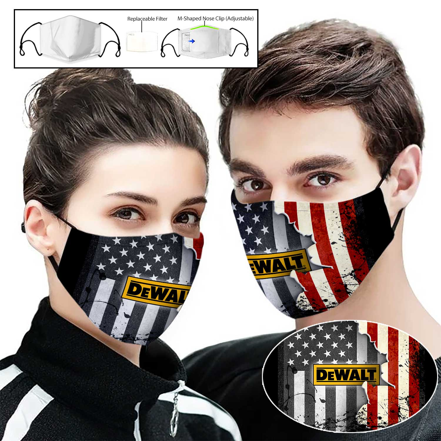 Dewalt american flag full printing face mask 1