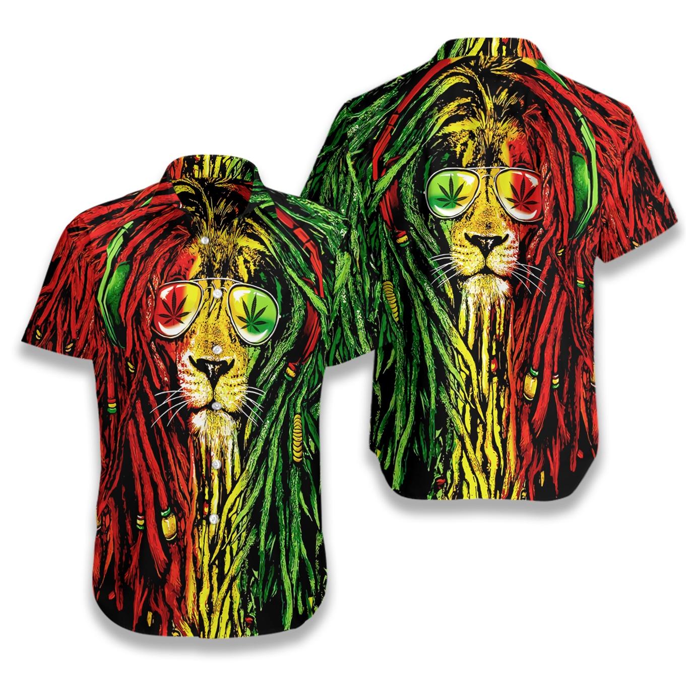 Dreadlocks rasta lion hawaiian shirt 4