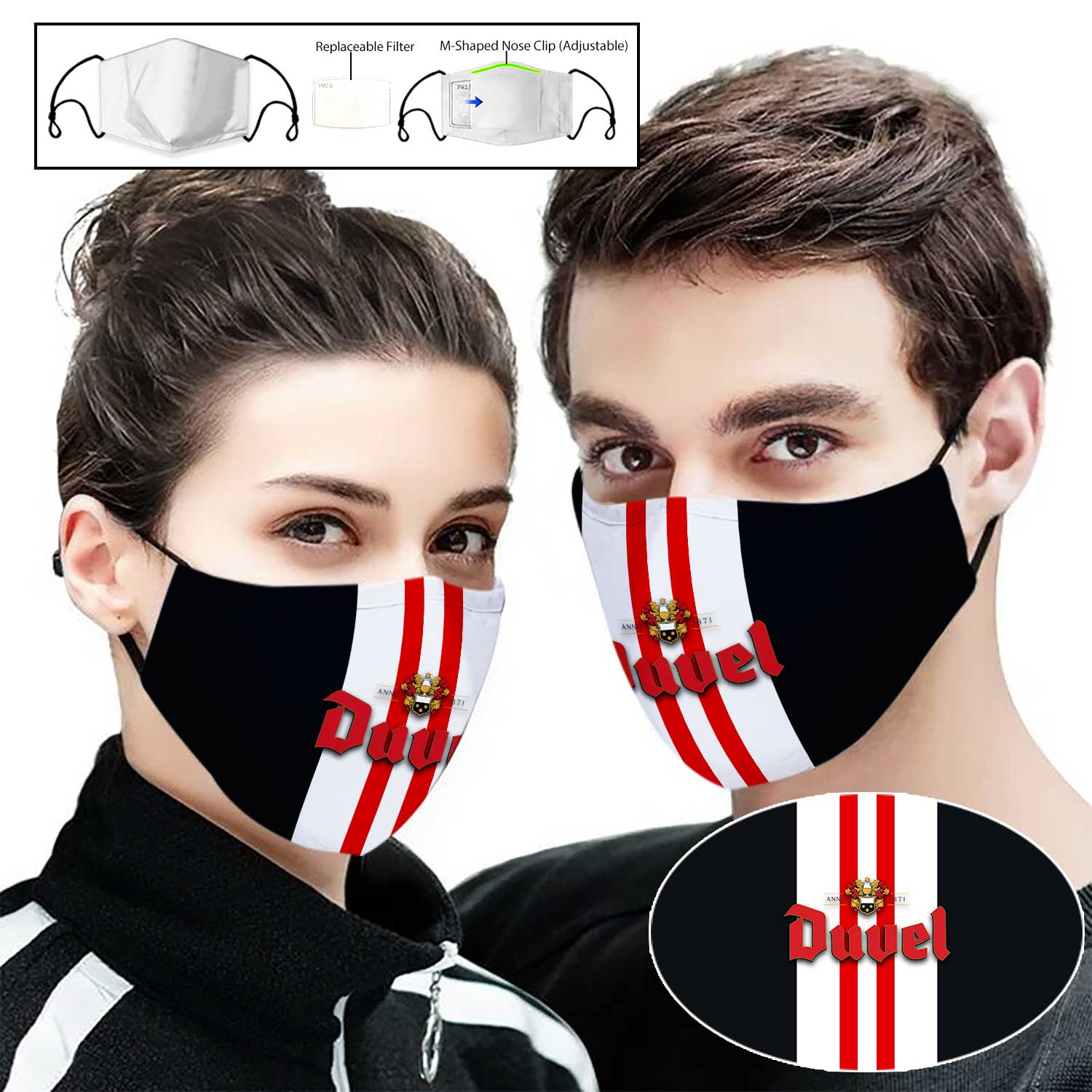 Duvel beer full printing face mask 2