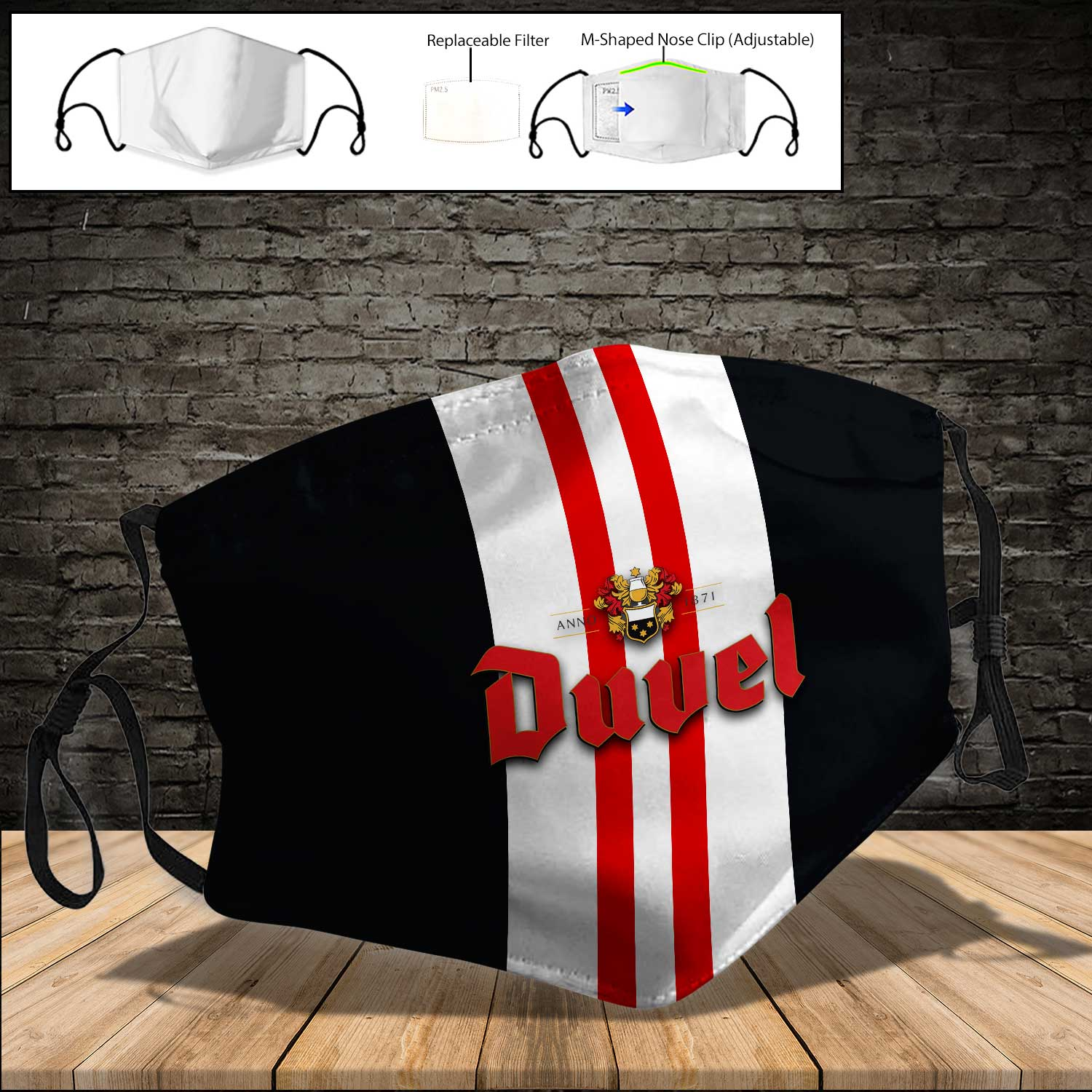 Duvel beer full printing face mask 3