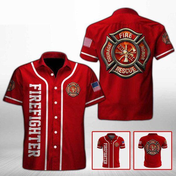 Firefighter fire honor rescue courage hawaiian shirt 4