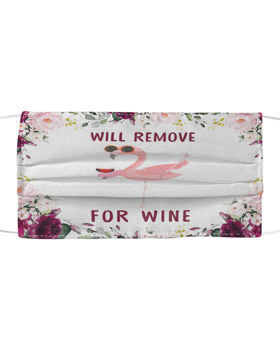 Flamingo will remove for wine all over printed face mask 1