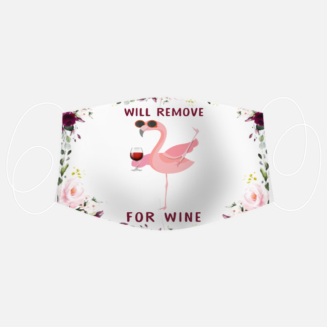 Floral flamingo will remove for wine face mask 3