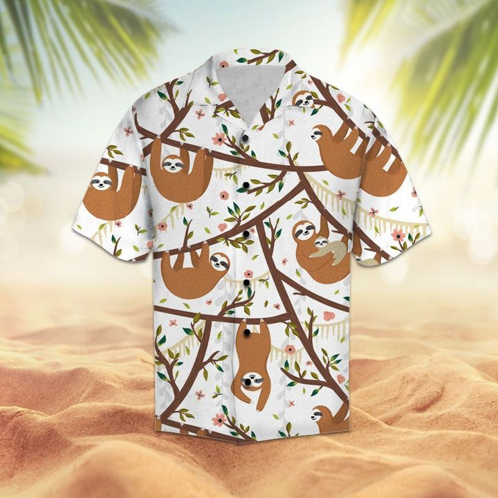 Floral sloth hawaiian shirt 4