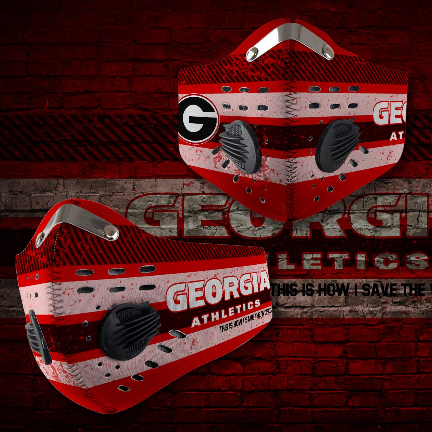 Georgia bulldogs football this is how i save the world carbon filter face mask 1