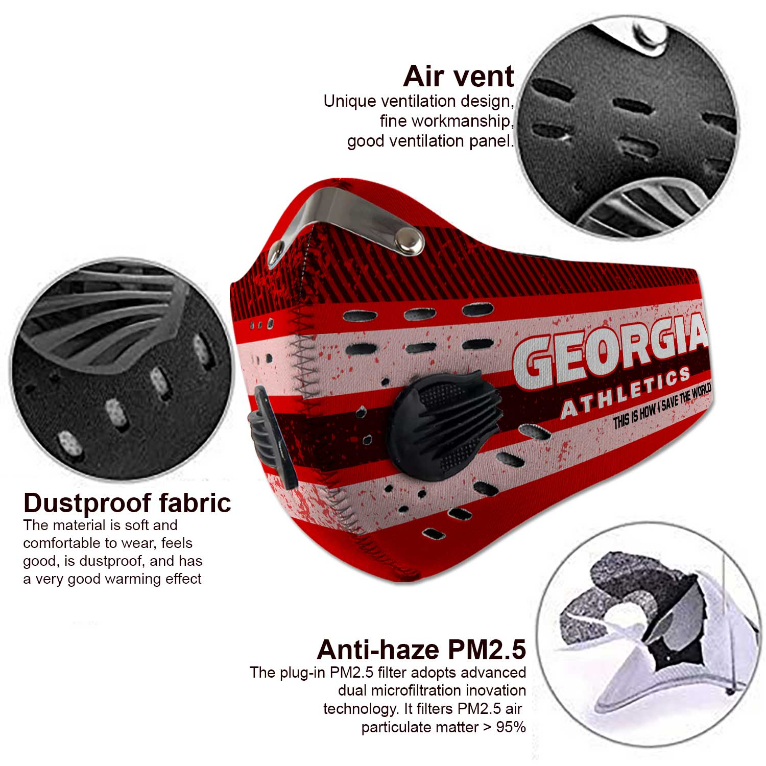 Georgia bulldogs football this is how i save the world carbon filter face mask 3