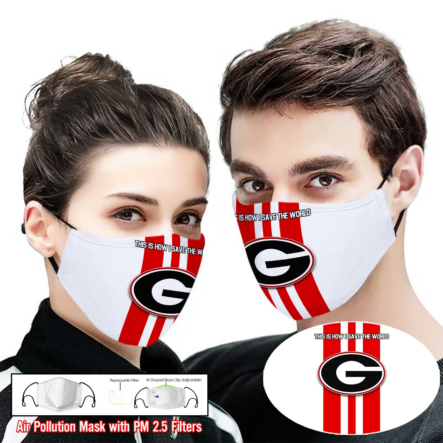 Georgia bulldogs football this is how i save the world face mask 2