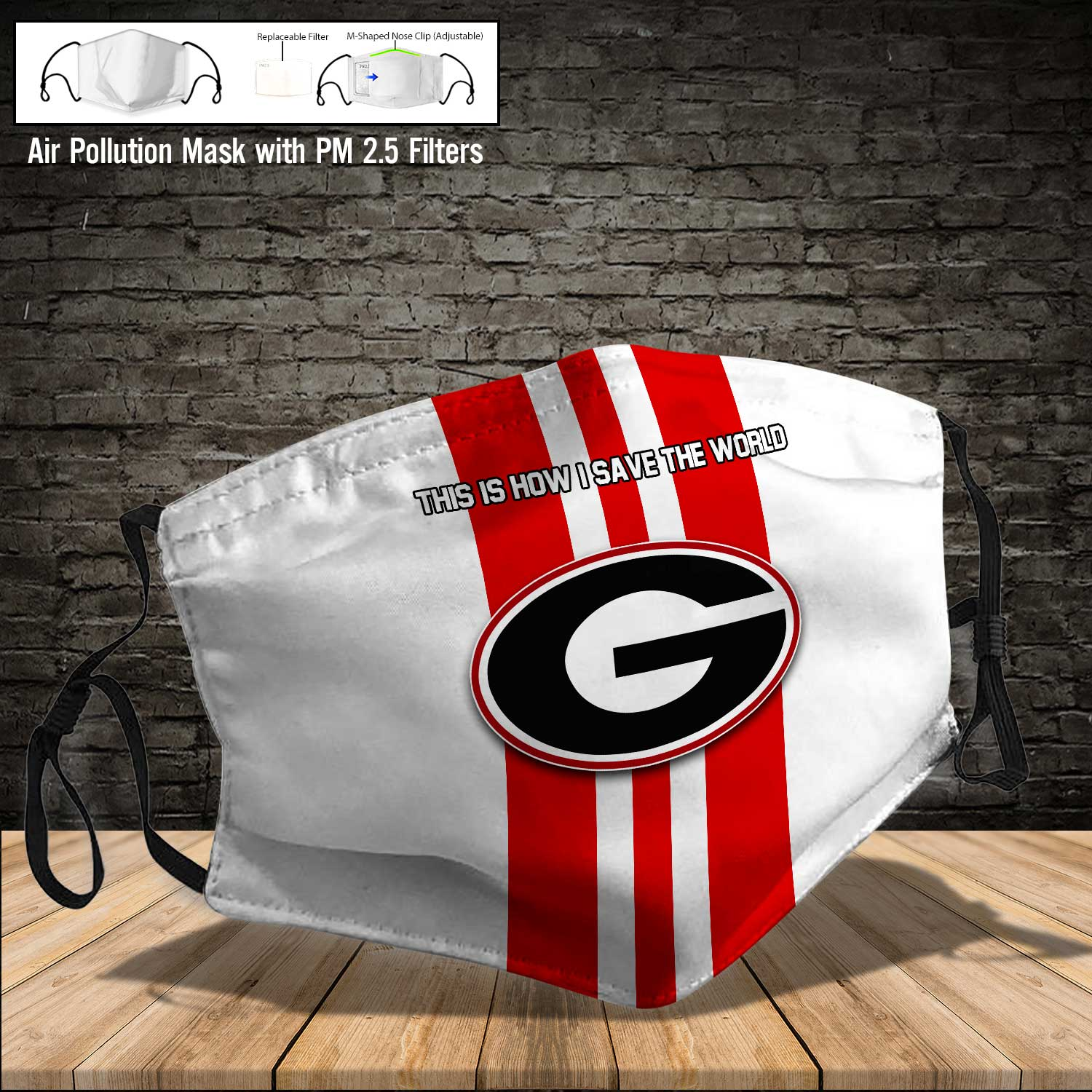 Georgia bulldogs football this is how i save the world face mask 3