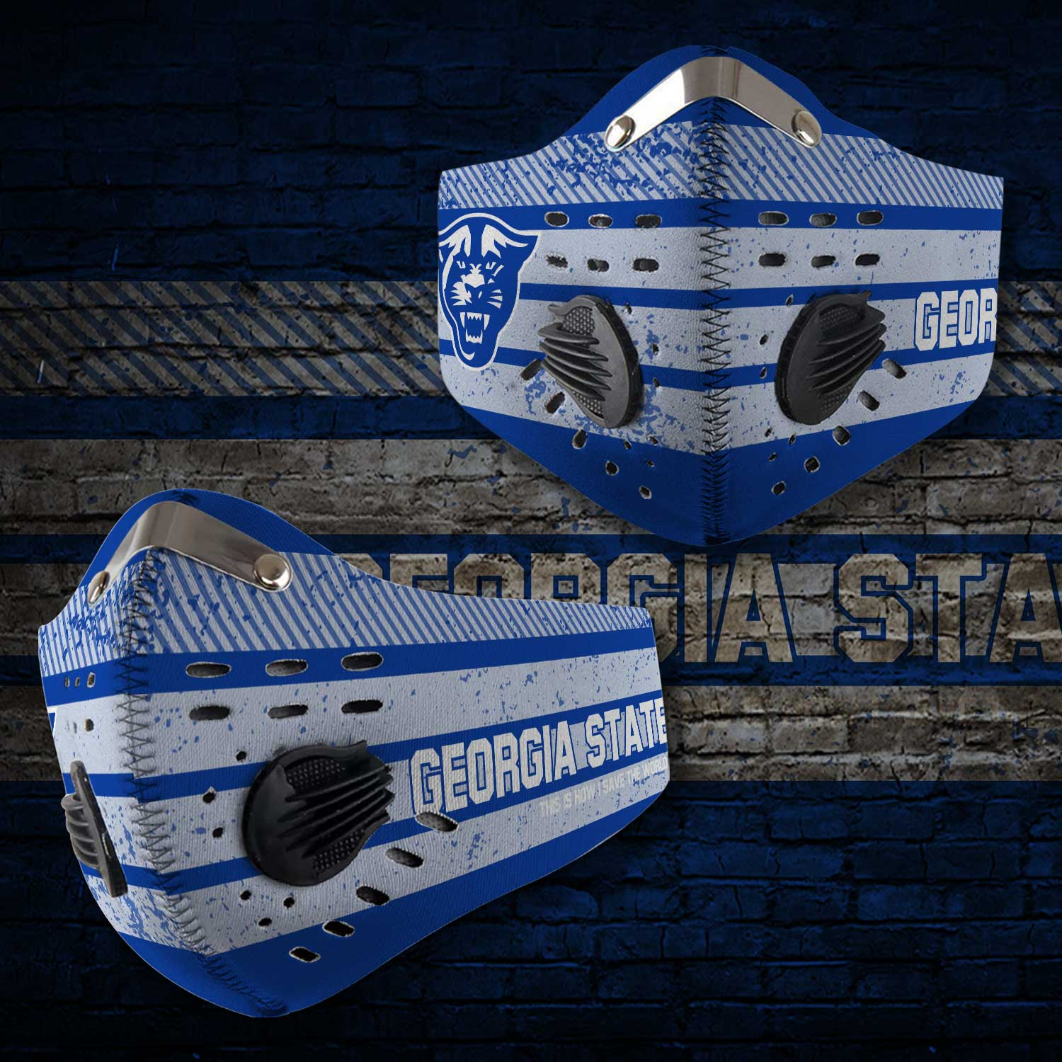 Georgia state panthers football this is how i save the world face mask 1