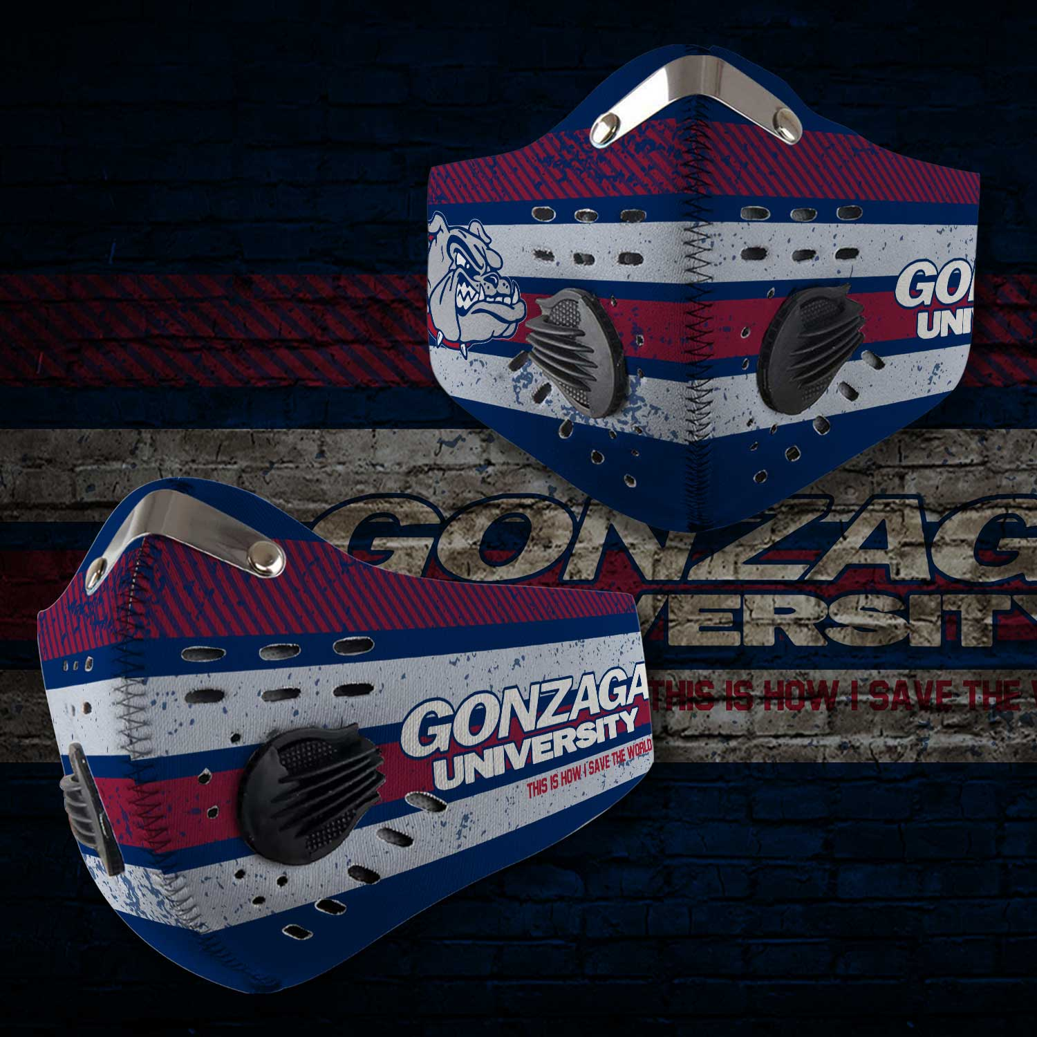 Gonzaga bulldogs men's basketball this is how i save the world face mask 2