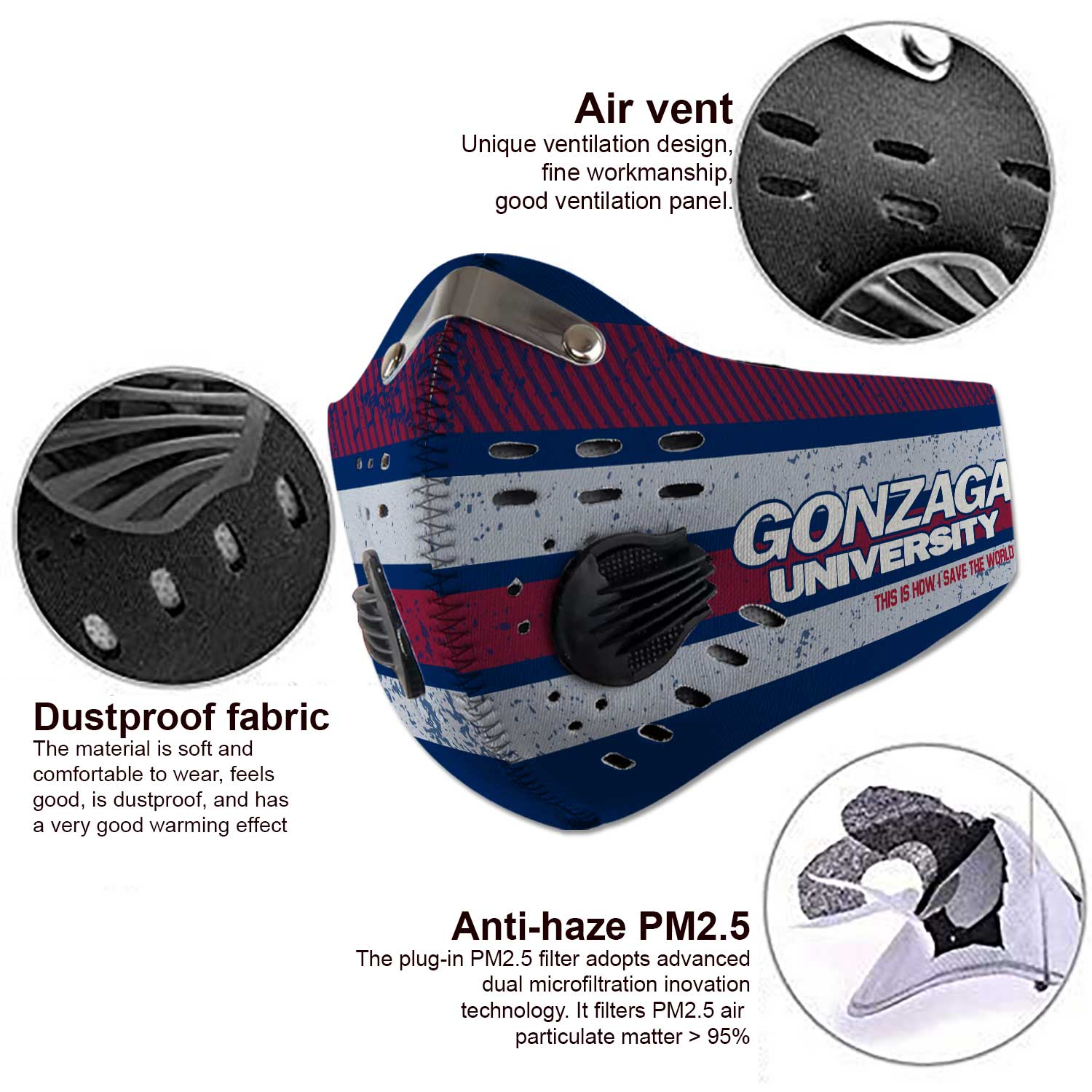 Gonzaga bulldogs men's basketball this is how i save the world face mask 3