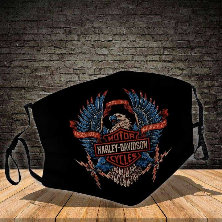 Harley-davidson legendary motorcycles eagle all over printed face mask 4