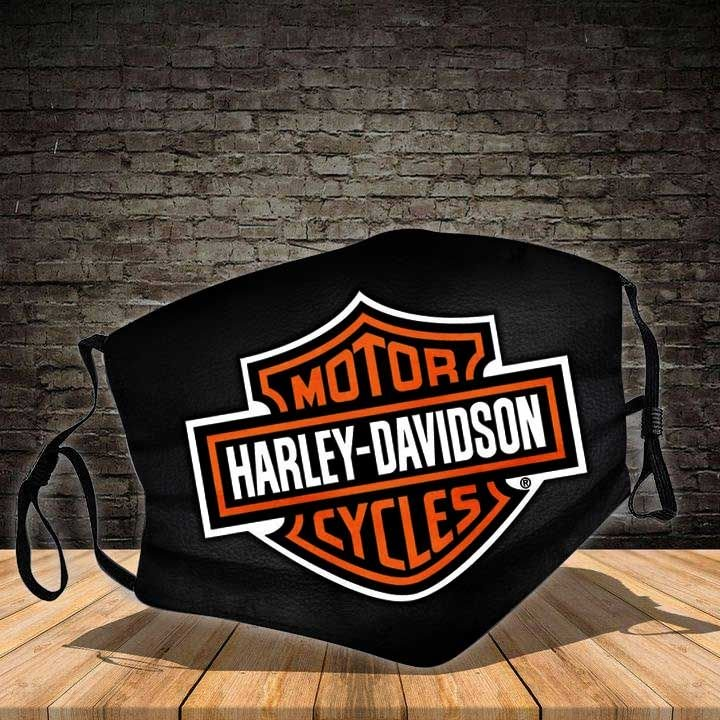 Harley-davidson motorcycle driving together all over printed face mask 2
