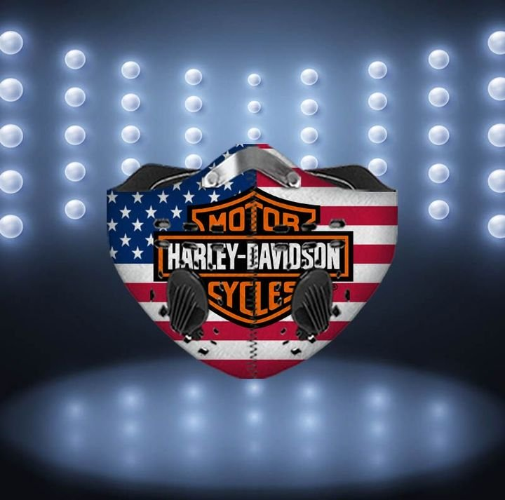 Harley-davidson motorcycles american flag filter activated carbon face mask 3