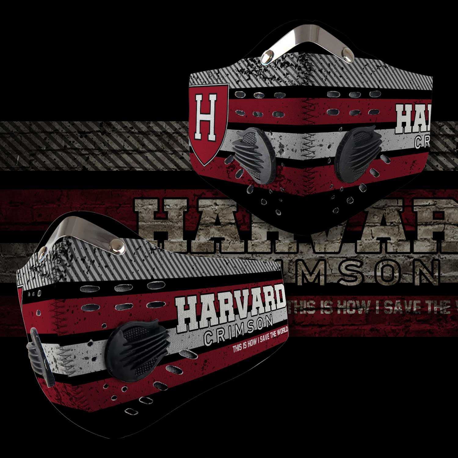 Harvard crimson this is how i save the world carbon filter face mask 2