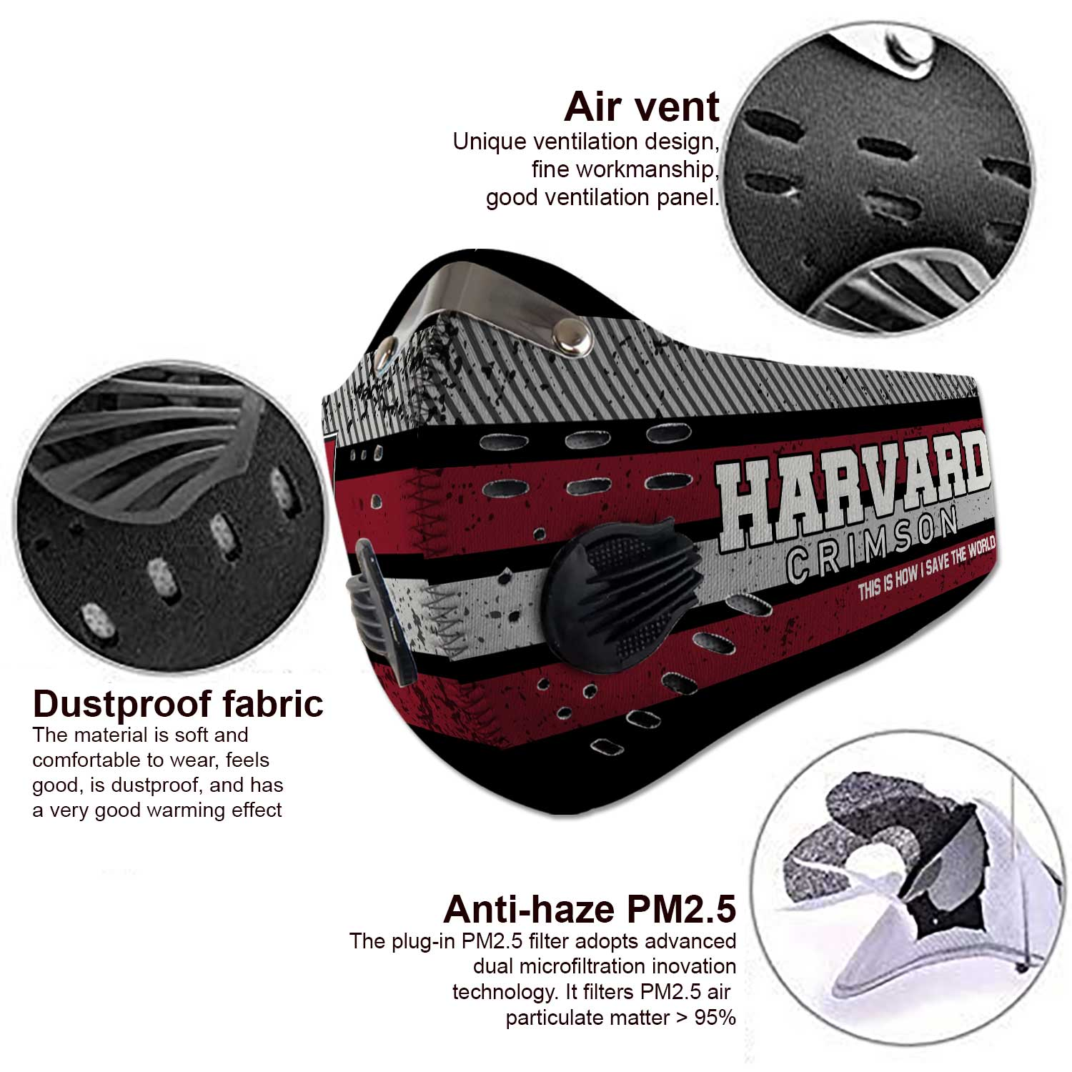 Harvard crimson this is how i save the world carbon filter face mask 4