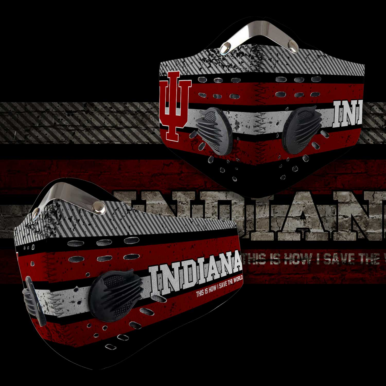 Indiana hoosiers this is how i save the world carbon filter face mask 2
