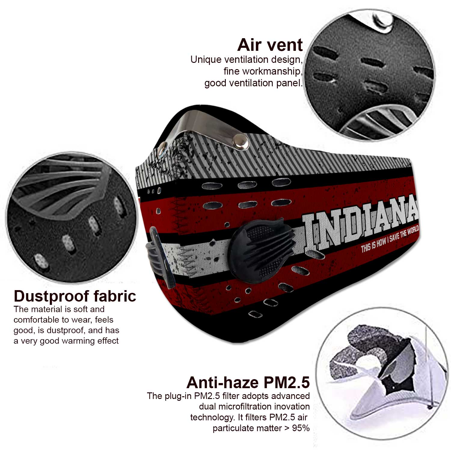 Indiana hoosiers this is how i save the world carbon filter face mask 3