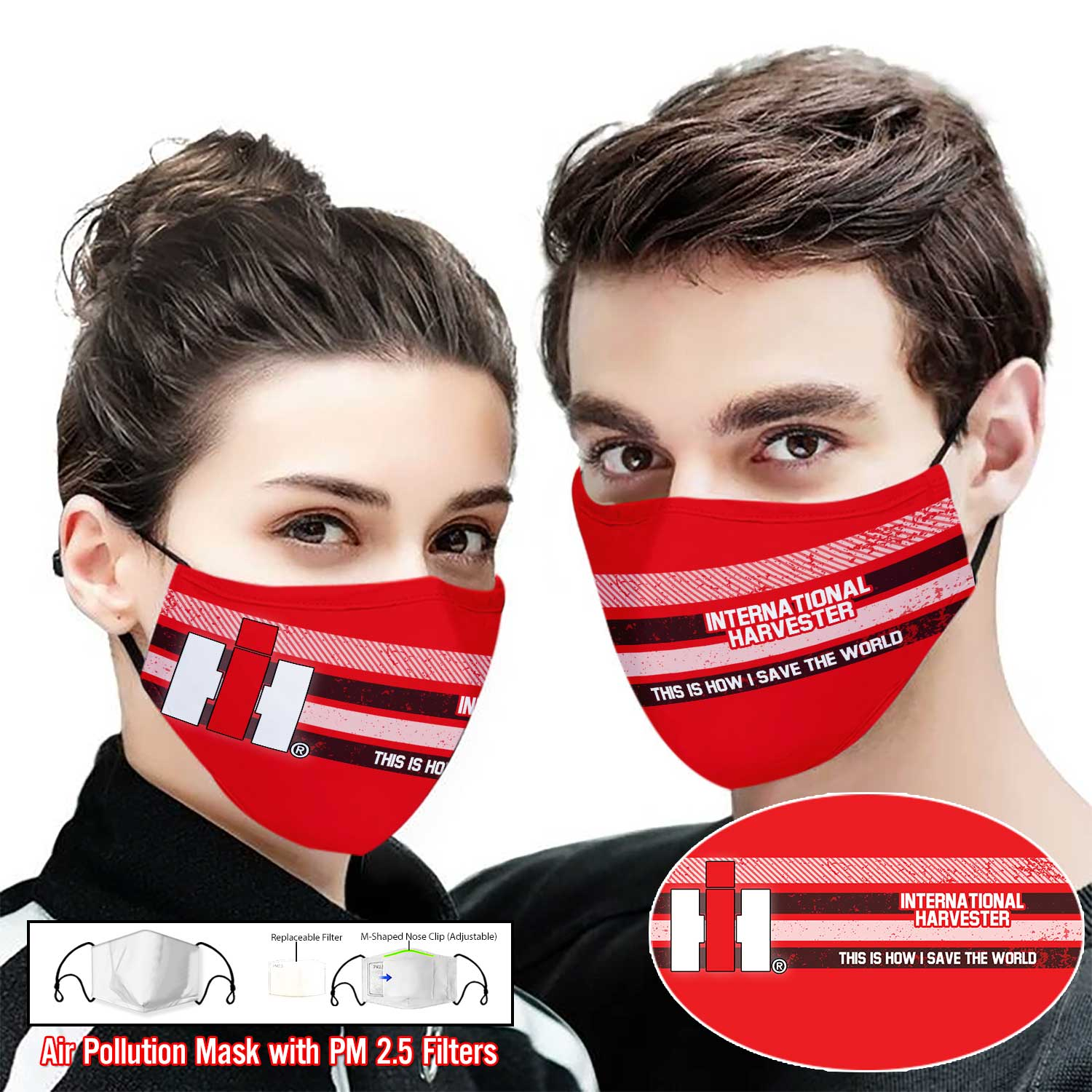 International harvester this is how i save the world full printing face mask 2