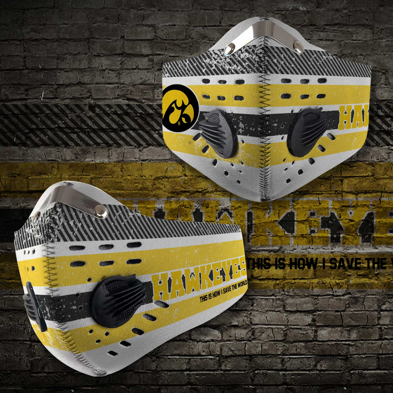 Iowa hawkeyes this is how i save the world carbon filter face mask 2