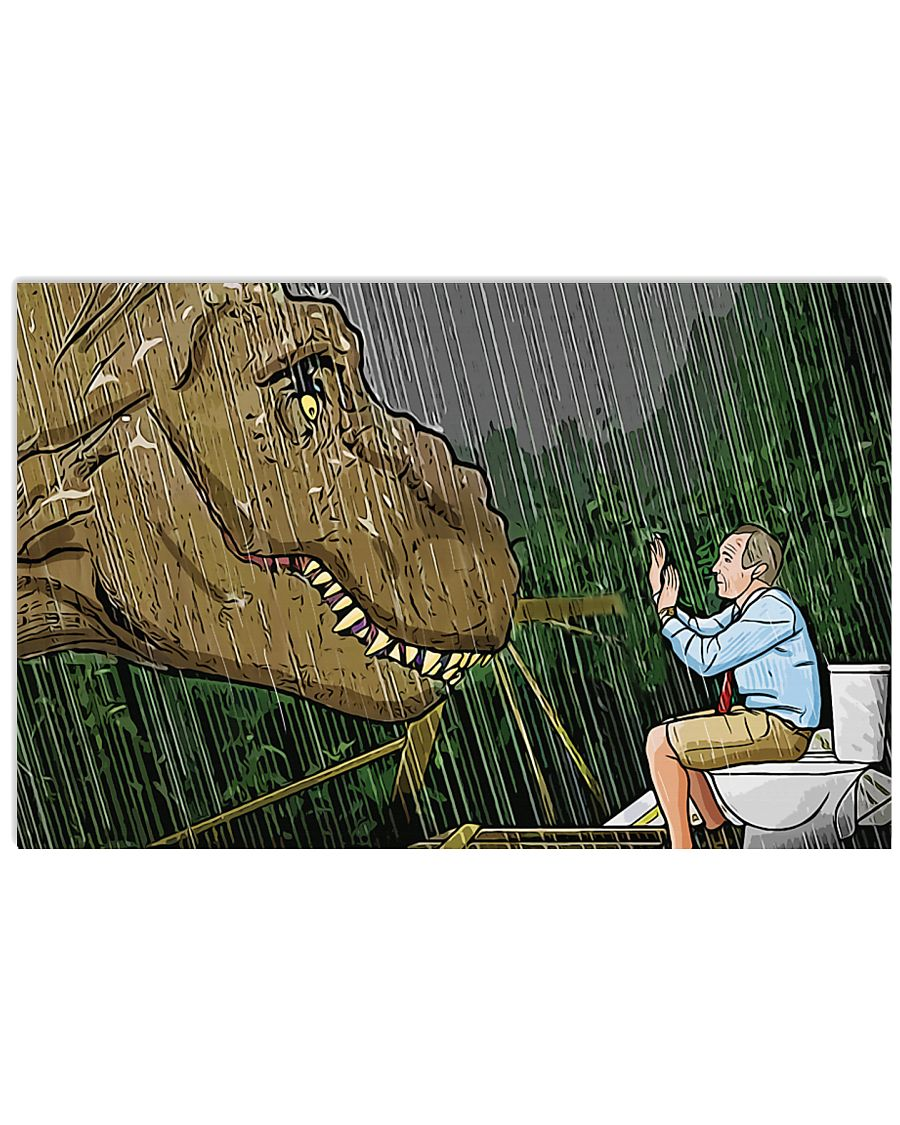 Jurassic park t-rex toilet scene cartoon poster 4