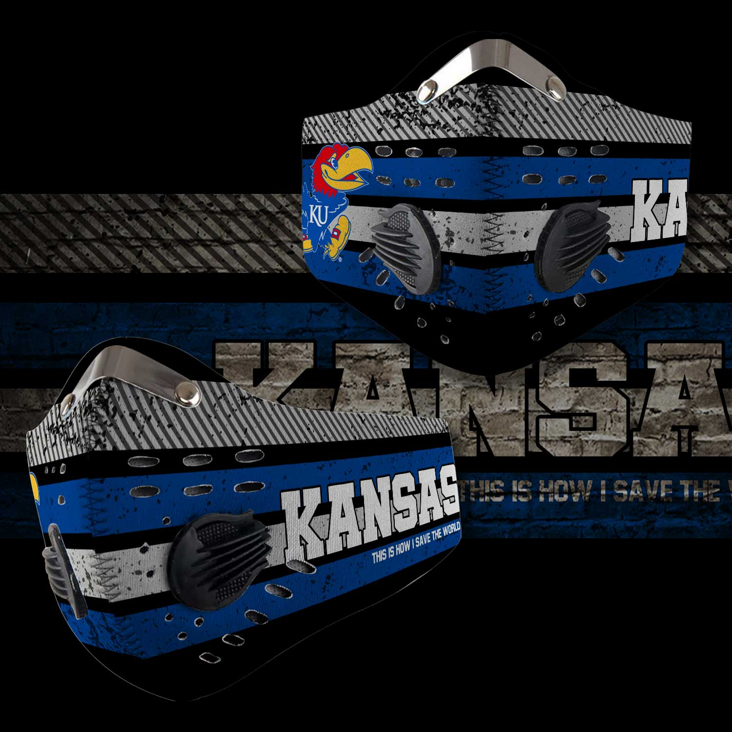 Kansas jayhawks men's basketball this is how i save the world face mask 2