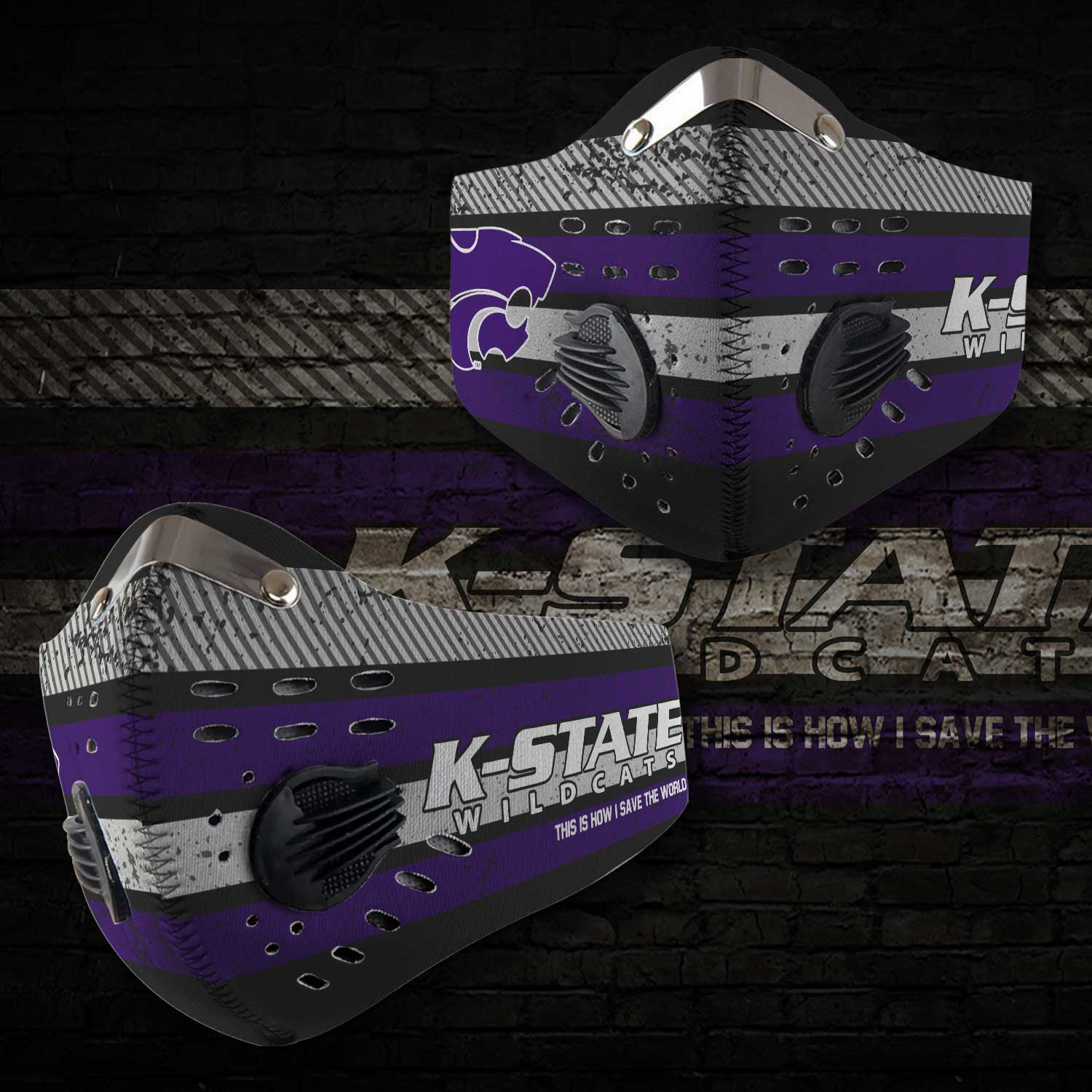 Kansas state wildcats football this is how i save the world face mask 2
