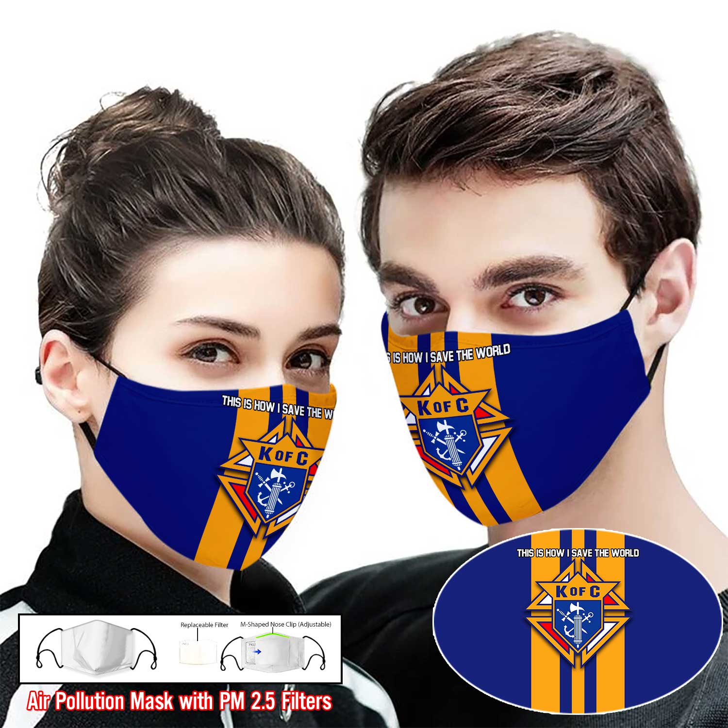 Knights of Columbus Catholic this is how i save the world face mask 1