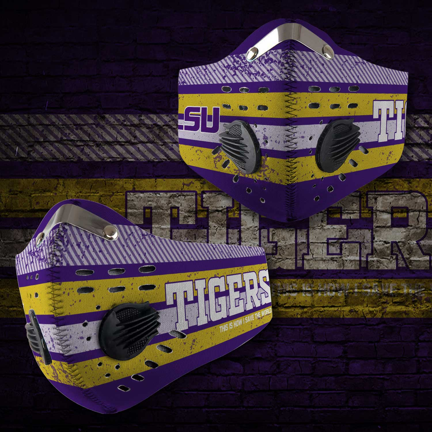 LSU tigers football this is how i save the world carbon filter face mask 2