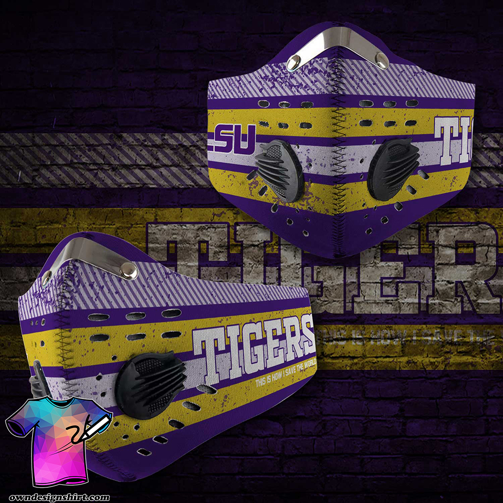 LSU tigers football this is how i save the world carbon filter face mask