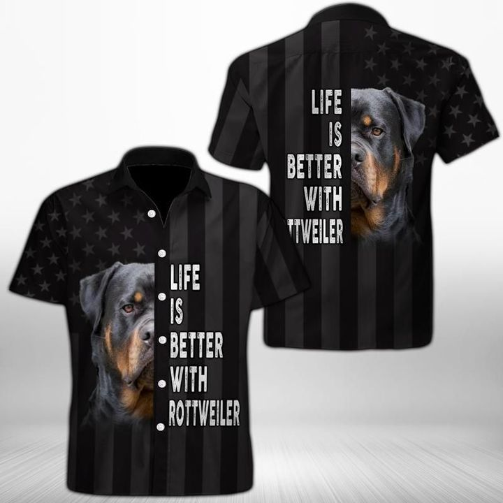 Life is better with rottweiler hawaiian shirt 2