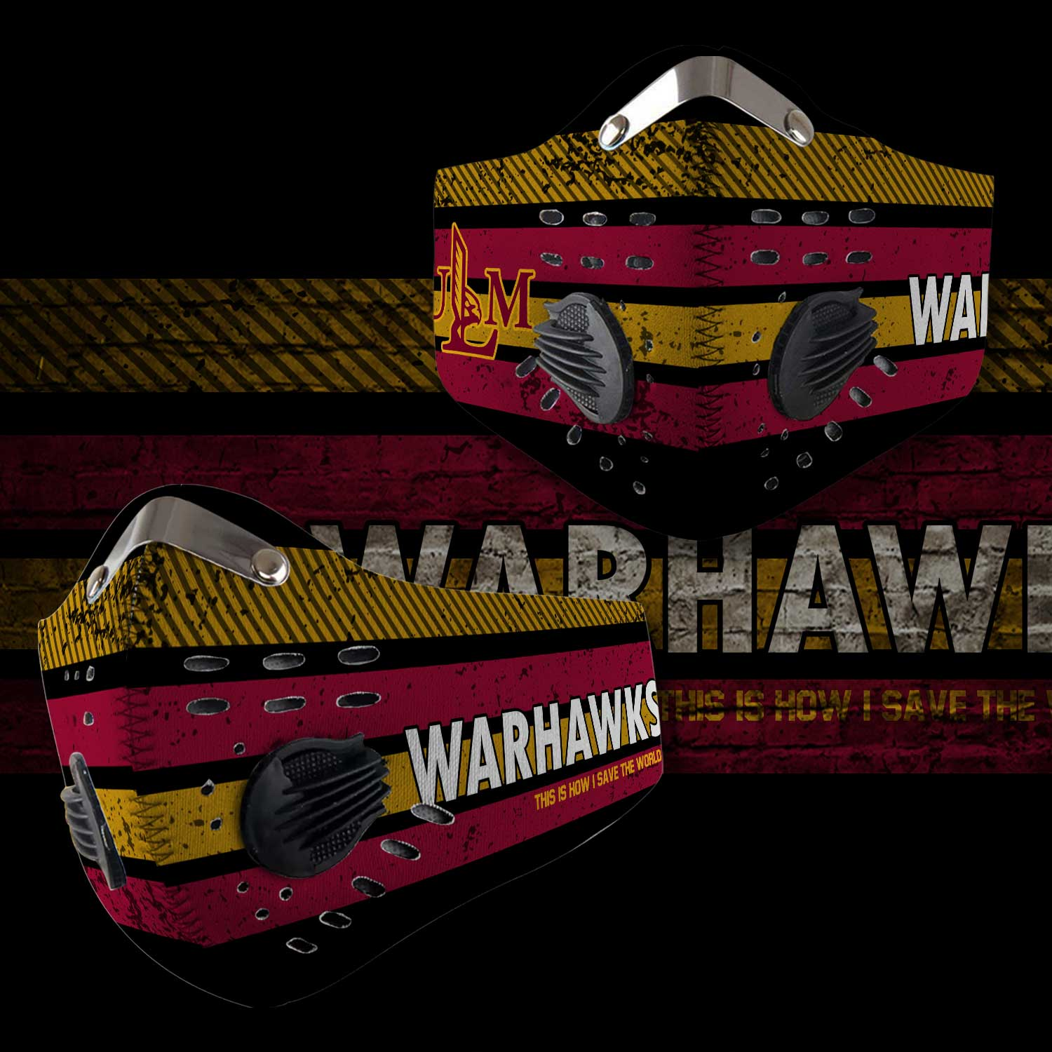 Louisiana monroe warhawks this is how i save the world face mask 1