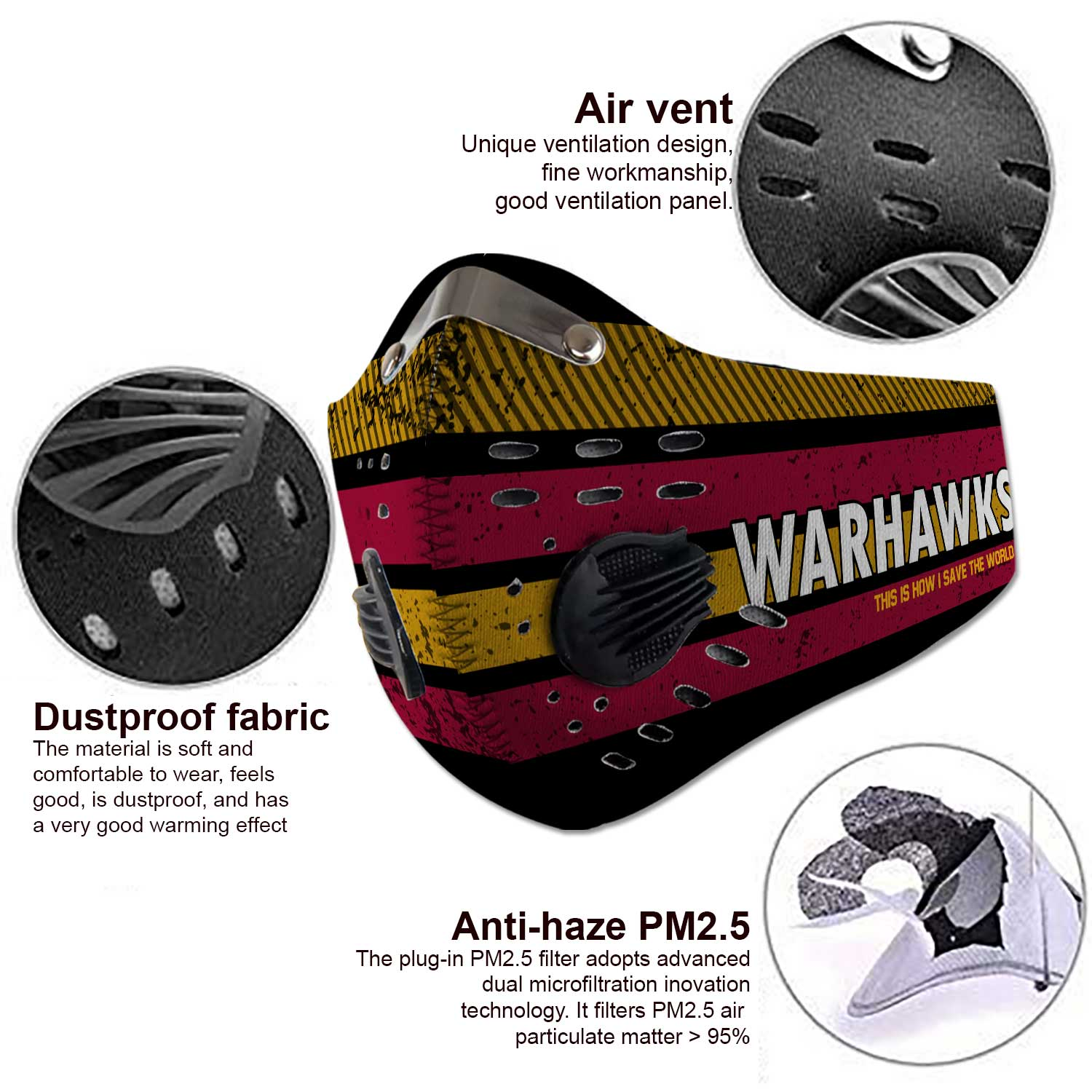Louisiana monroe warhawks this is how i save the world face mask 3
