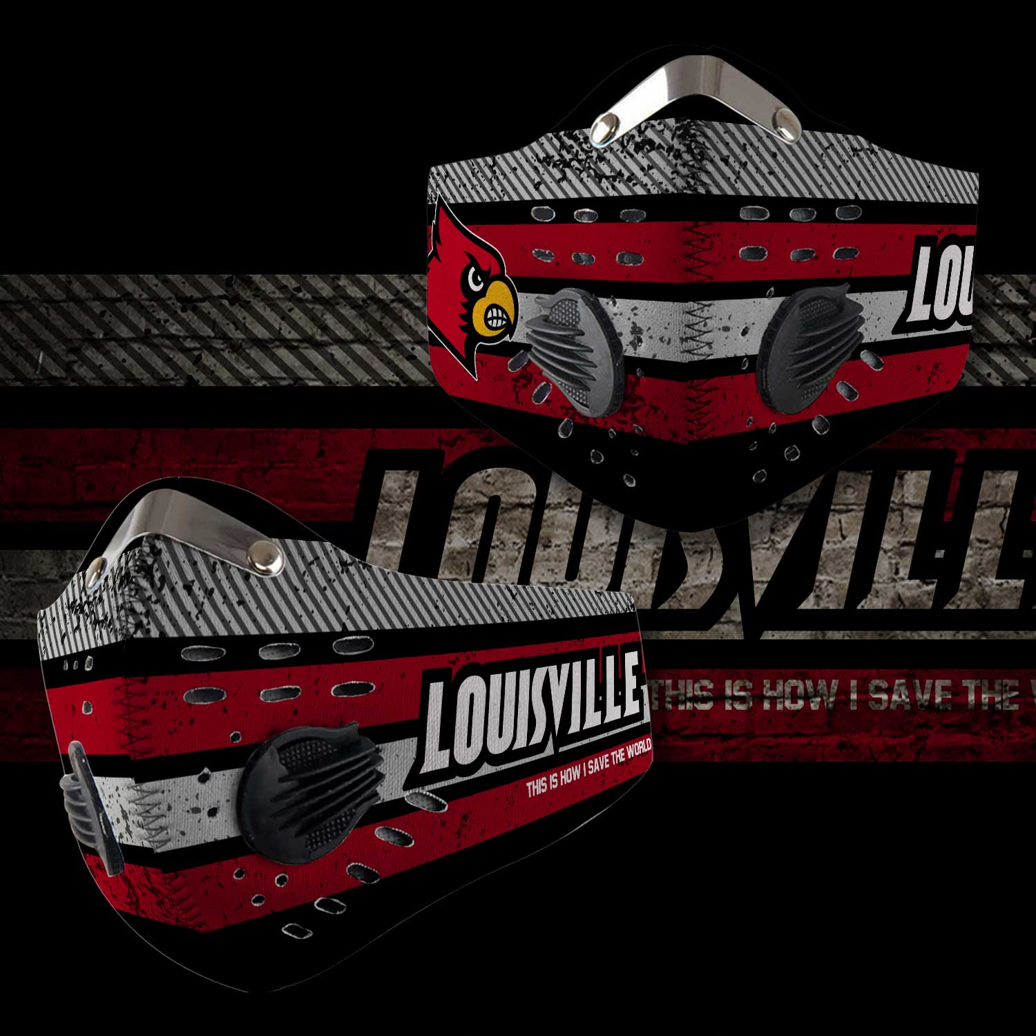 Louisville cardinals this is how i save the world carbon filter face mask 2