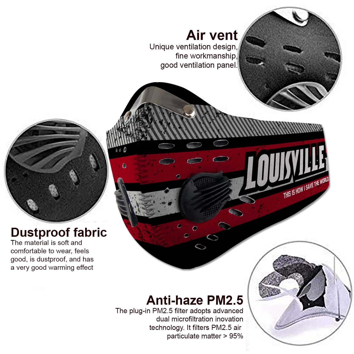 Louisville cardinals this is how i save the world carbon filter face mask 3