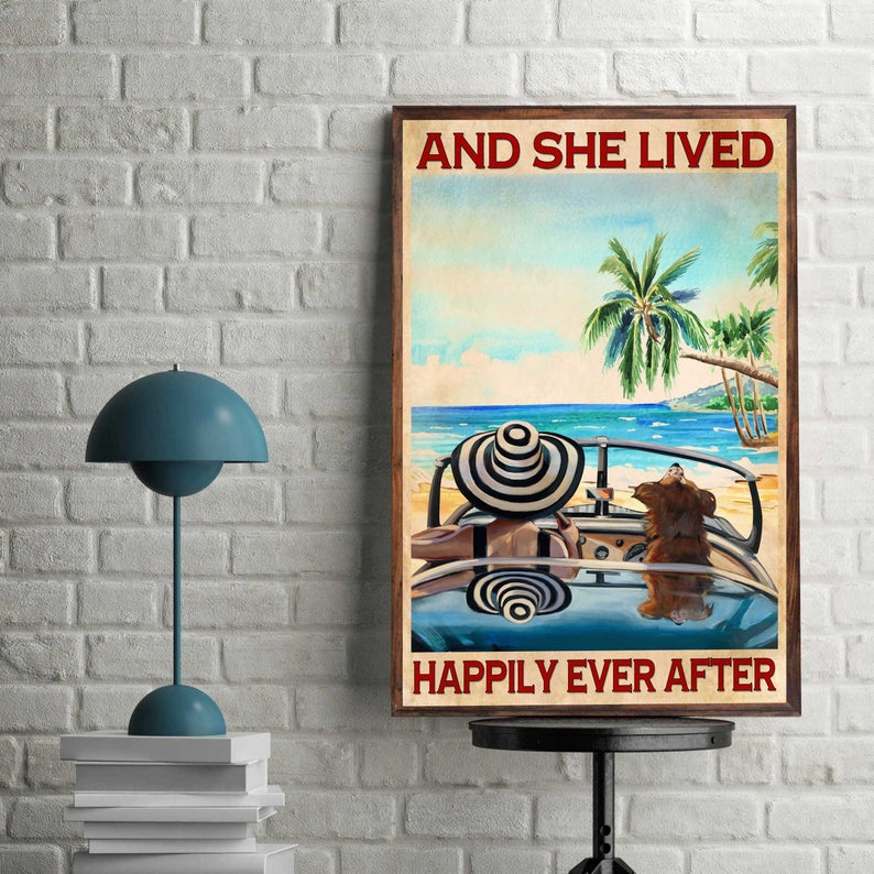 Love dogs and she lived happily ever after summer time vintage poster 4