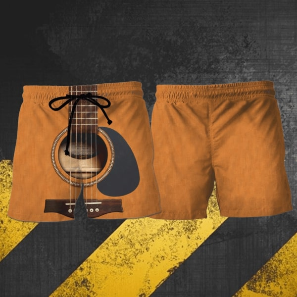 Love guitar hawaiian shorts 1